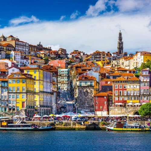 Porto, Portugal old town skyline from across the Douro River.